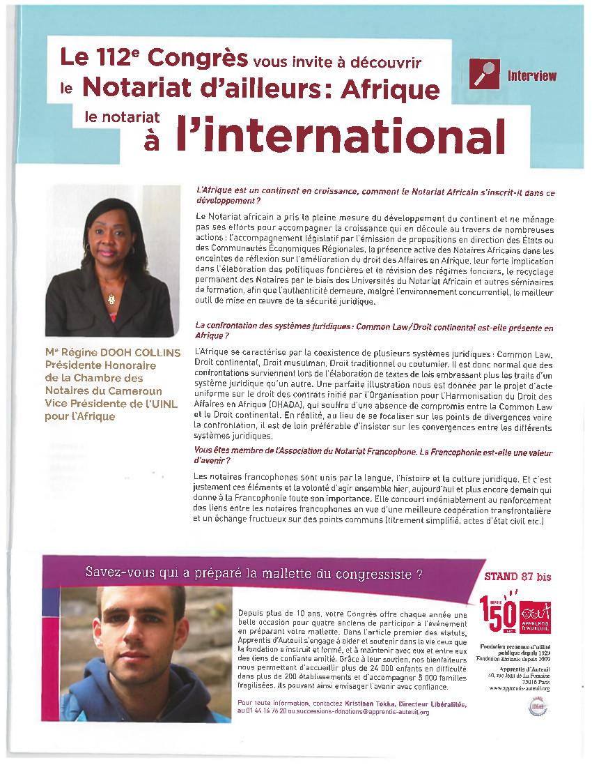 Les minutes du Congrès à Nantes_Entretien avec Régine Dooh-Collins