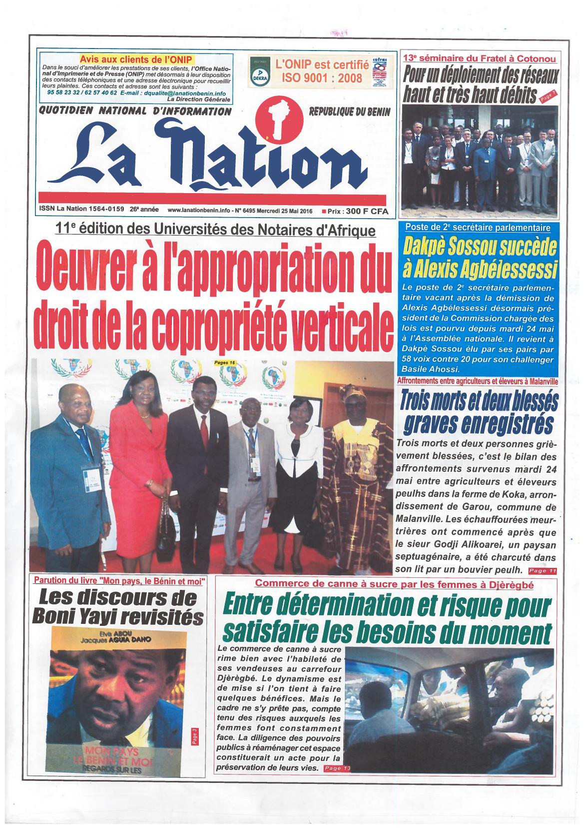Première page du journal la Nation de la république du Bénin sur l'Université du Notariat d'Afrique à Cotonou